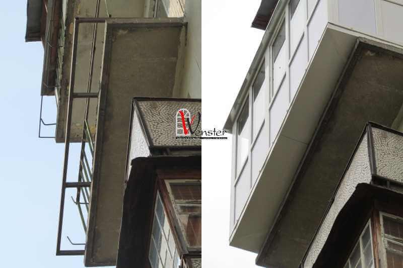 Балкон с выносом, расширение балкона.